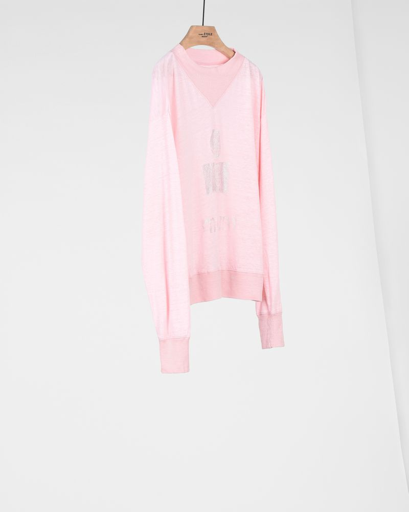 Kilsen Long-sleeved high collar linen t-shirt with metallic, printed logo ISABEL MARANT ÉTOILE
