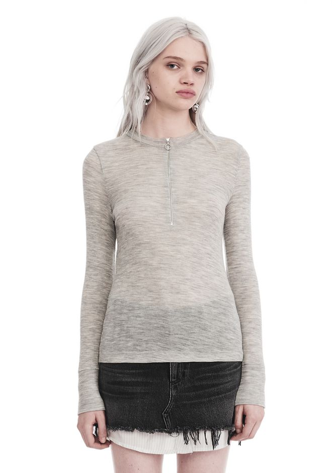 T by ALEXANDER WANG new-arrivals-t-by-alexander-wang-woman LONG SLEEVE TOP WITH ZIP HALF PLACKET