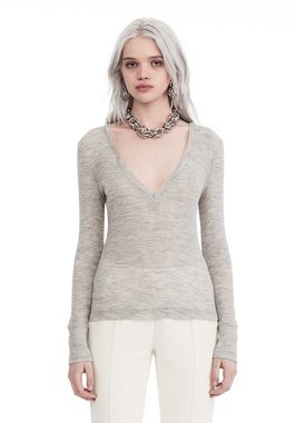 SHEER WOOLY RIB L/S DEEPV TOP