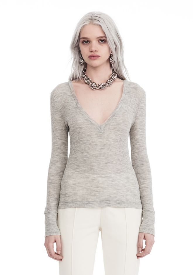 T by ALEXANDER WANG new-arrivals-t-by-alexander-wang-woman SHEER WOOLY RIB LONG SLEEVE TOP