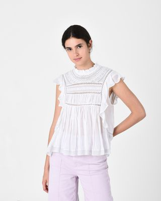 VIVIA embroidered sleeveless top