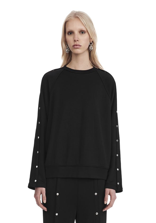T by ALEXANDER WANG new-arrivals-t-by-alexander-wang-woman CREWNECK SWEATSHIRT WITH SNAPS