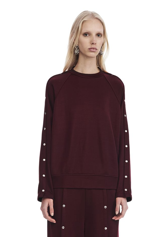 T by ALEXANDER WANG TOPS Women CREWNECK SWEATSHIRT WITH SNAPS
