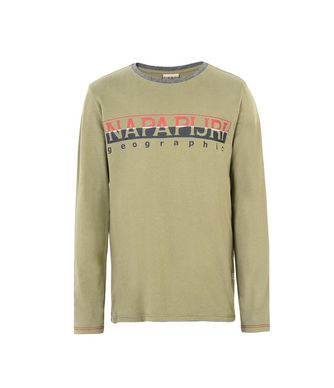 NAPAPIJRI K SABIN JUNIOR KID LONG SLEEVE T-SHIRT,MILITARY GREEN