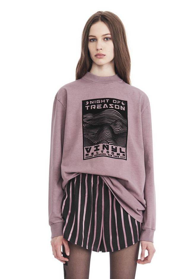 ALEXANDER WANG TOPS Women EXCLUSIVE LONG SLEEVE TEE WITH FLOCKING ARTWORK