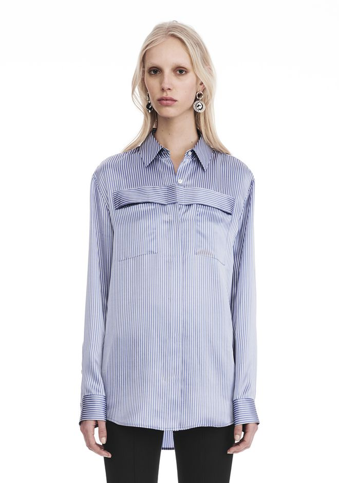 T by ALEXANDER WANG TOPS Women STRIPED LONG SLEEVE COLLARED SHIRT