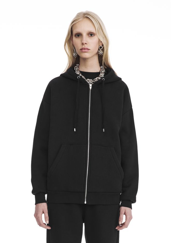 T by ALEXANDER WANG TOPS Women DENSE FLEECE ZIP THRU HOODIE