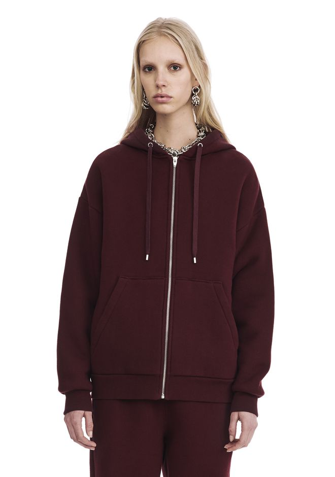 T by ALEXANDER WANG new-arrivals-t-by-alexander-wang-woman DENSE FLEECE ZIP THRU HOODIE