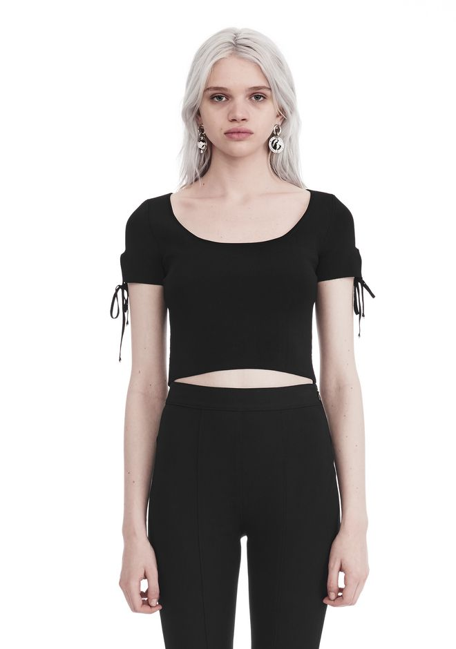 T by ALEXANDER WANG TOPS Women RIBBED SHORT SLEEVE CROPPED SWEATER WITH TIE DETAIL