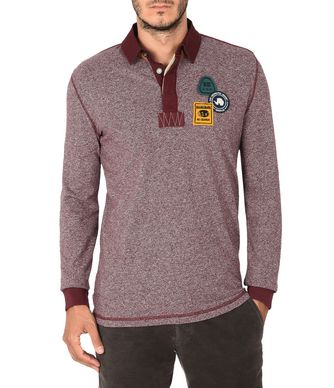 NAPAPIJRI EMMEN MAN LONG SLEEVE POLO,MAROON