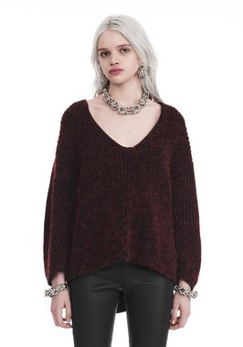 CHUNKY MOHAIR LONG SLEEVE V-NECK PULLOVER