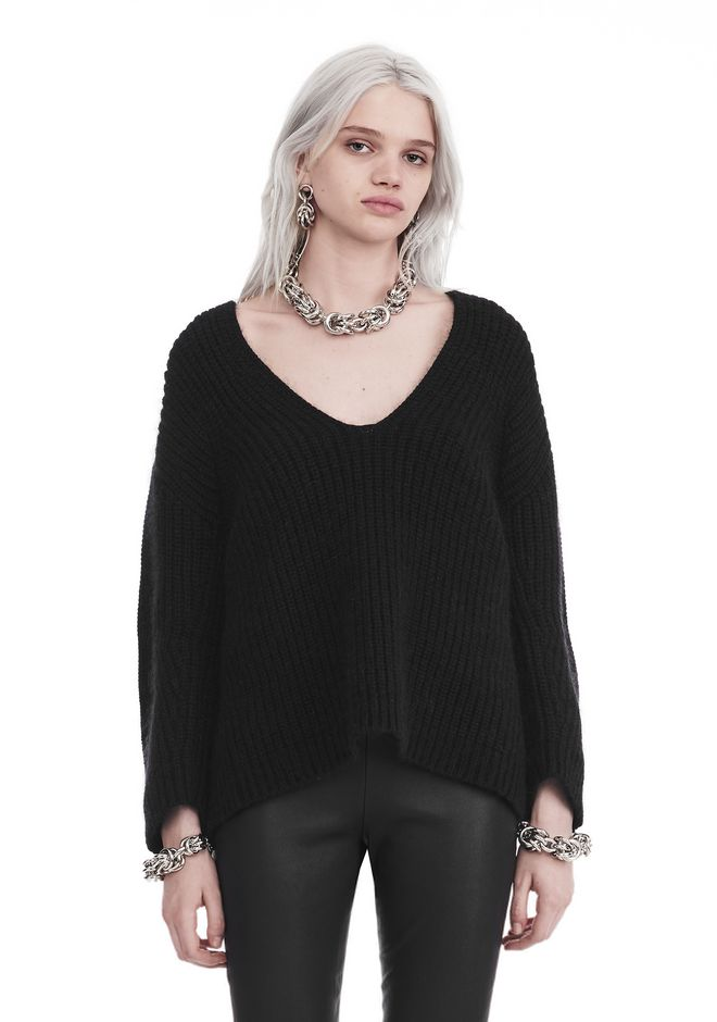 T by ALEXANDER WANG TOPS Women CHUNKY MOHAIR LONG SLEEVE V-NECK PULLOVER