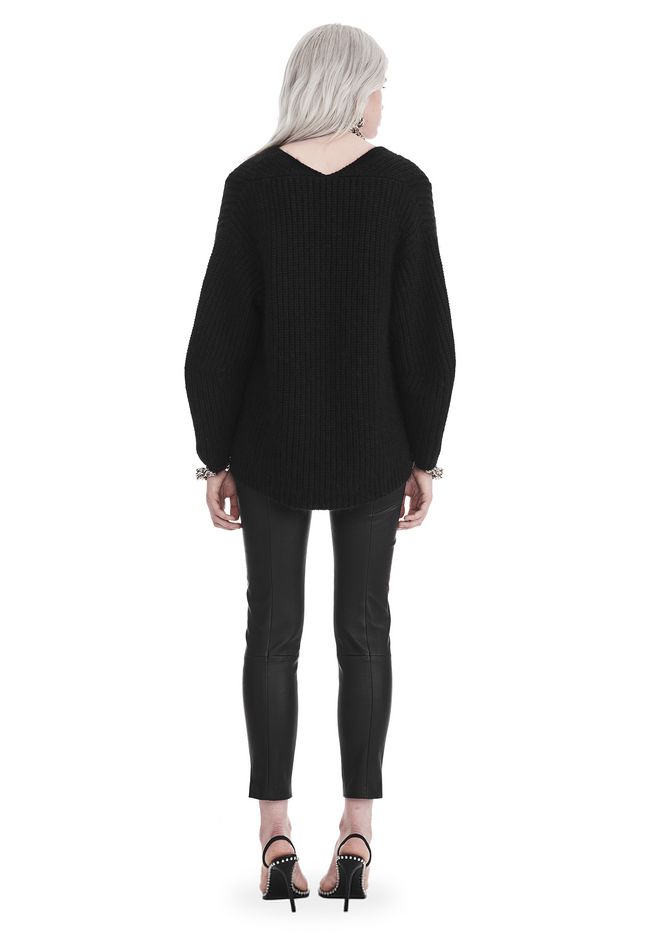 T by ALEXANDER WANG CHUNKY MOHAIR LONG SLEEVE V-NECK PULLOVER 上衣 Adult 12_n_r