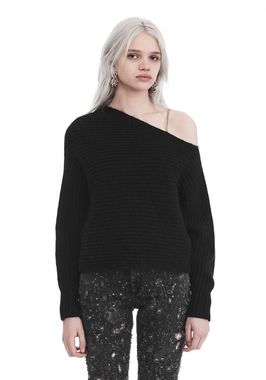 CHUNKY MOHAIR LONG SLEEVE ASYMMETRICAL SWEATER