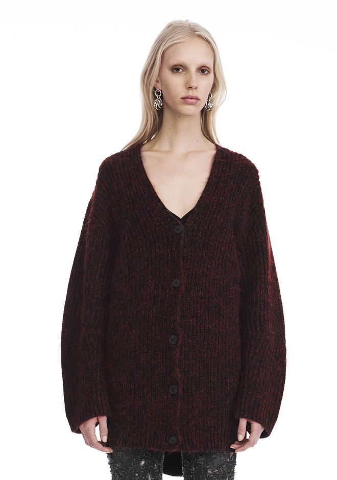 T by ALEXANDER WANG TOPS Women CHUNKY MOHAIR LONG SLEEVE V-NECK CARDIGAN
