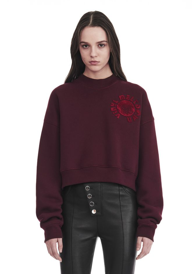 ALEXANDER WANG new-arrivals-ready-to-wear-woman CROPPED MOCK NECK SWEATSHIRT WITH FURWARI ARTWORK