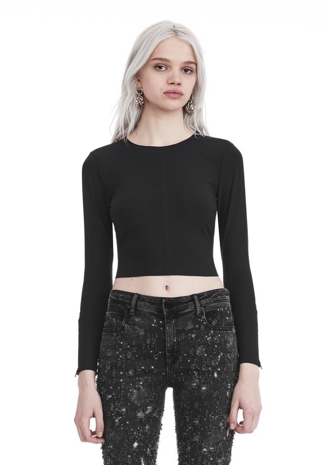 T by ALEXANDER WANG TOPS COMPACT STRETCH LONG SLEEVE CROPPED TOP