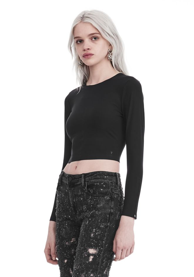 T by ALEXANDER WANG COMPACT STRETCH LONG SLEEVE CROPPED TOP 上衣 Adult 12_n_a