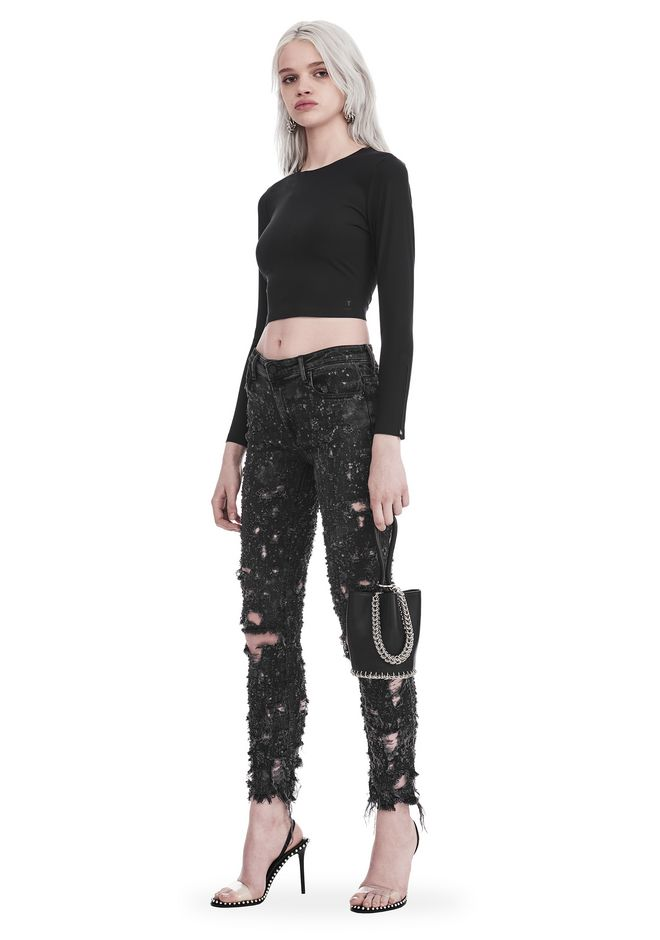 T by ALEXANDER WANG COMPACT STRETCH LONG SLEEVE CROPPED TOP TOP Adult 12_n_f