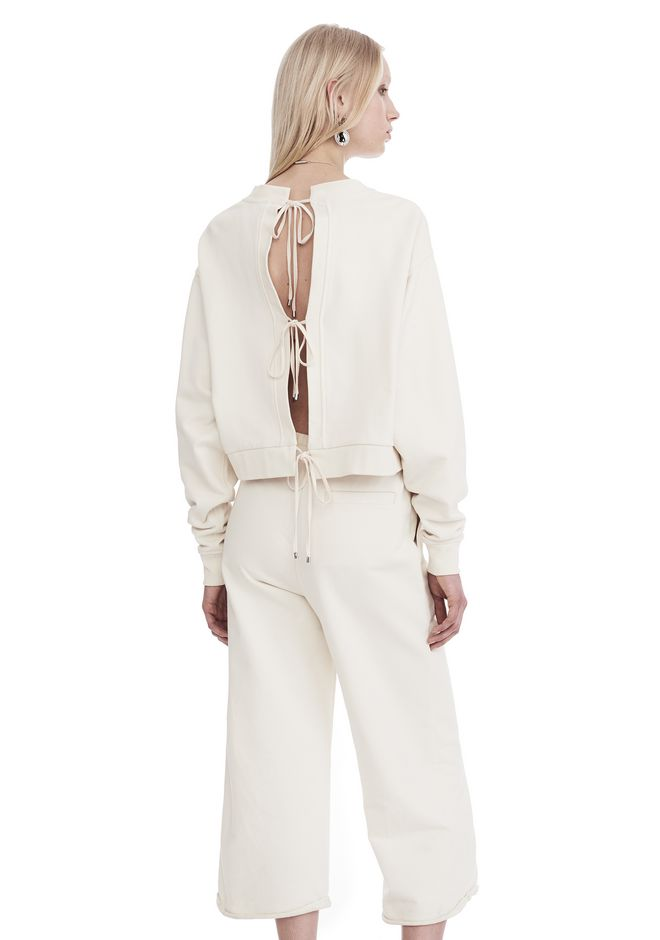 T by ALEXANDER WANG new-arrivals-t-by-alexander-wang-woman DRY FRENCH TERRY LONG SLEEVE TIE-BACK JUMPSUIT