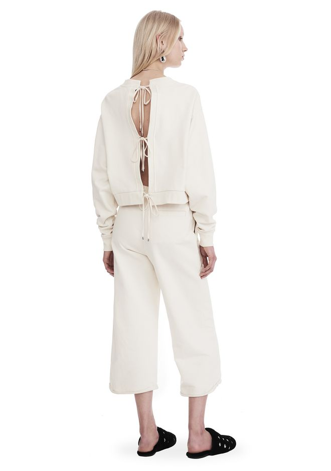 T by ALEXANDER WANG DRY FRENCH TERRY LONG SLEEVE TIE-BACK JUMPSUIT TOP Adult 12_n_f
