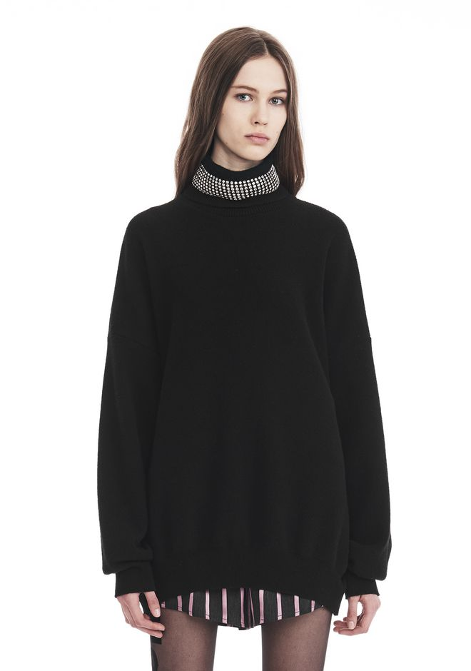 ALEXANDER WANG new-arrivals-ready-to-wear-woman TURTLENECK PULLOVER WITH CRYSTAL NECK TRIM