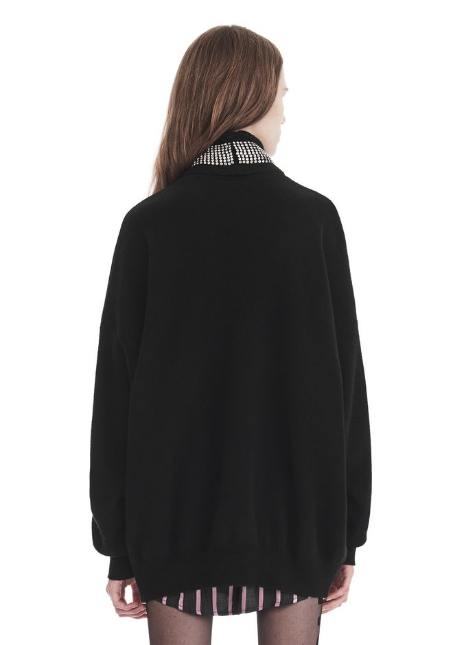 ALEXANDER WANG TURTLENECK PULLOVER WITH CRYSTAL NECK TRIM TOP Adult 12_n_d