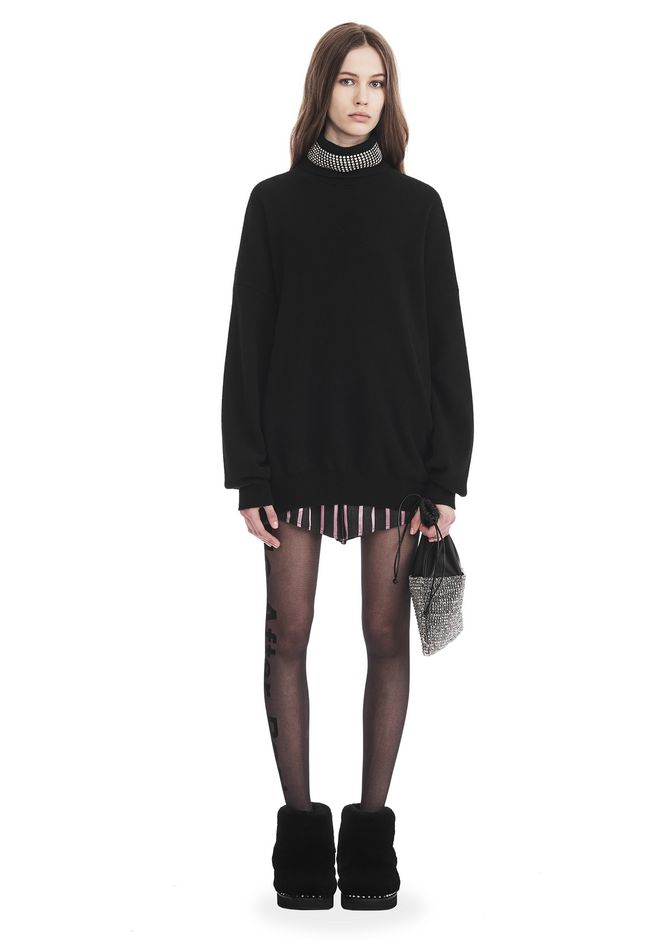 ALEXANDER WANG TURTLENECK PULLOVER WITH CRYSTAL NECK TRIM TOP Adult 12_n_f