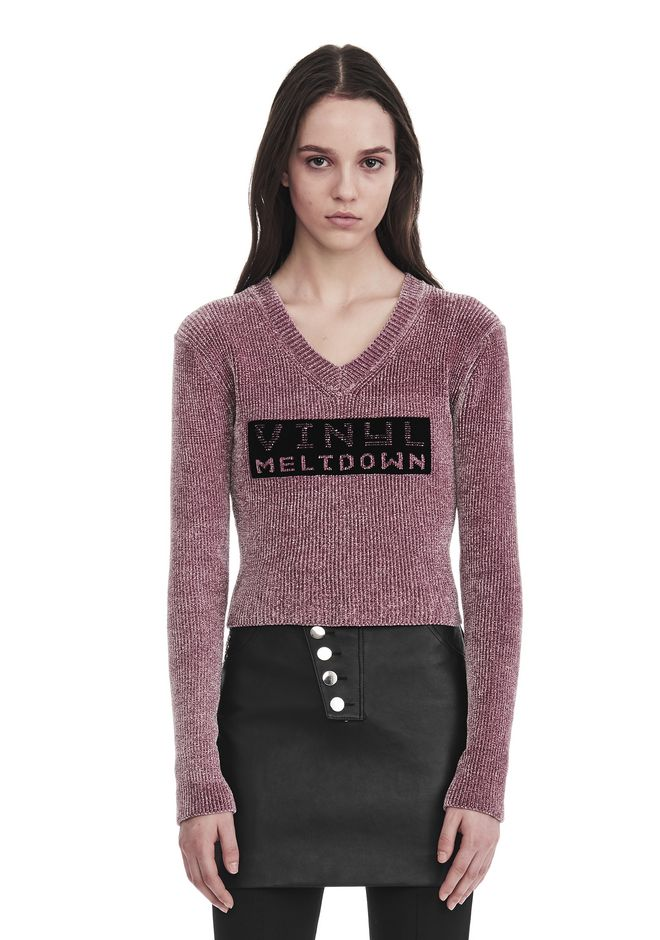 ALEXANDER WANG TOPS Women V- NECK PULLOVER WITH 'VINYL MELTDOWN' JACQUARD