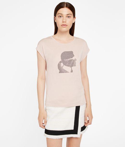 KARL LAGERFELD T-shirt con Profilo di Karl in Strass 12_f