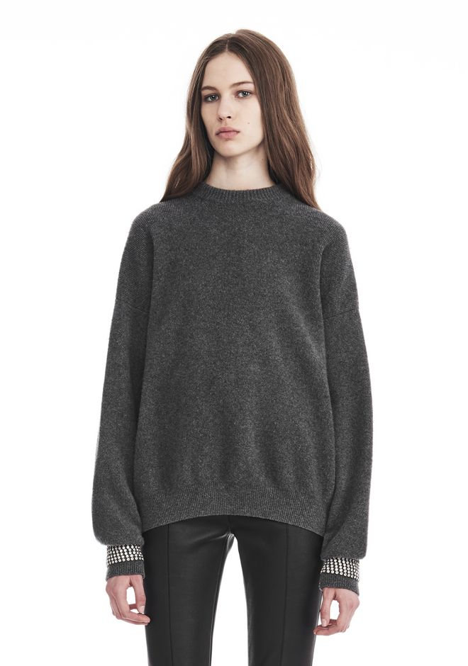 ALEXANDER WANG new-arrivals CREW NECK PULLOVER WITH CRYSTAL CUFF TRIMS