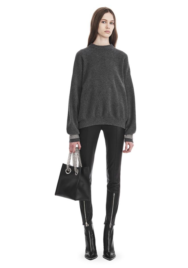 ALEXANDER WANG TOPS CREW NECK PULLOVER WITH CRYSTAL CUFF TRIMS
