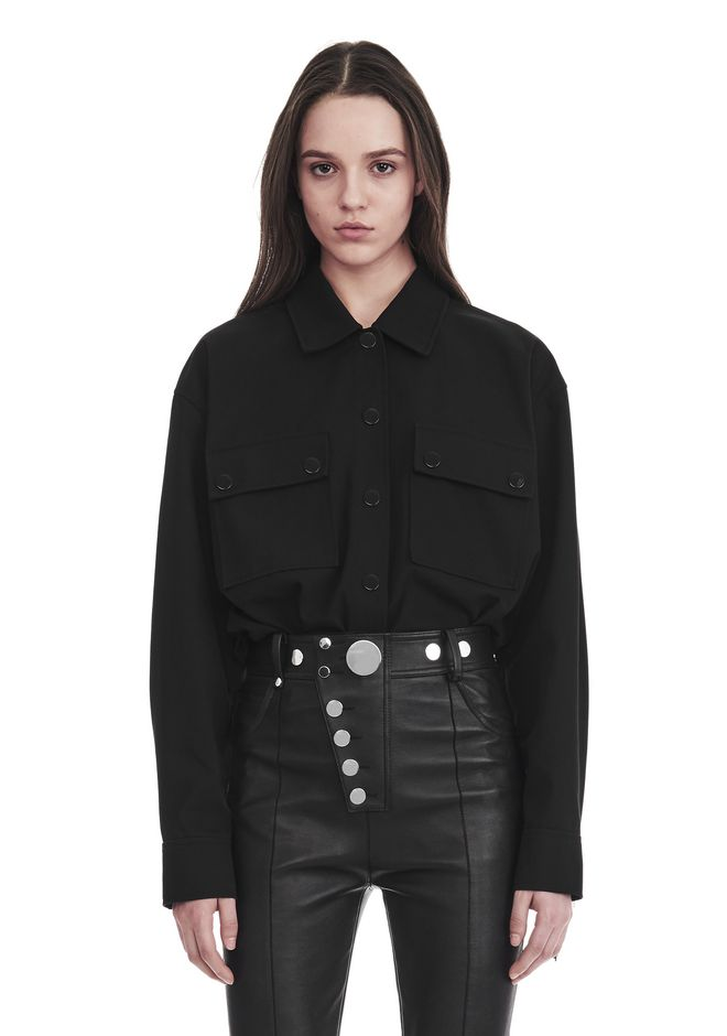 ALEXANDER WANG new-arrivals MILITARY SHIRT WITH LEATHER FRINGE