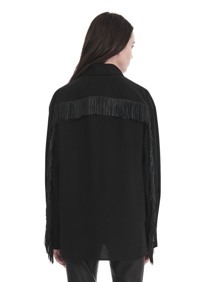 ALEXANDER WANG MILITARY SHIRT WITH LEATHER FRINGE 上衣 Adult 12_n_d