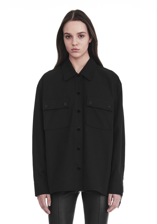 ALEXANDER WANG MILITARY SHIRT WITH LEATHER FRINGE 上衣 Adult 12_n_r