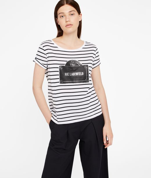 KARL LAGERFELD Rue Lagerfeld Striped Tee 12_f