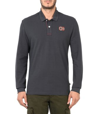 NAPAPIJRI EDINBUR MAN LONG SLEEVE POLO,LEAD