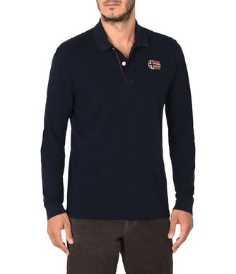 NAPAPIJRI EDINBUR MAN LONG SLEEVE POLO,DARK BLUE