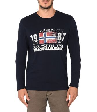 NAPAPIJRI SALEM MAN LONG SLEEVE T-SHIRT,DARK BLUE