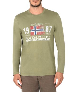 NAPAPIJRI SALEM MAN LONG SLEEVE T-SHIRT,MILITARY GREEN