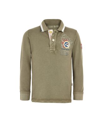 NAPAPIJRI K GANDY LONG SLEEVES JUNIOR KINDER LANGÄRMLIGE POLO,MILITÄRGRÜN