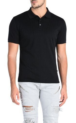 Polo shirt with textured crocodile skin pattern