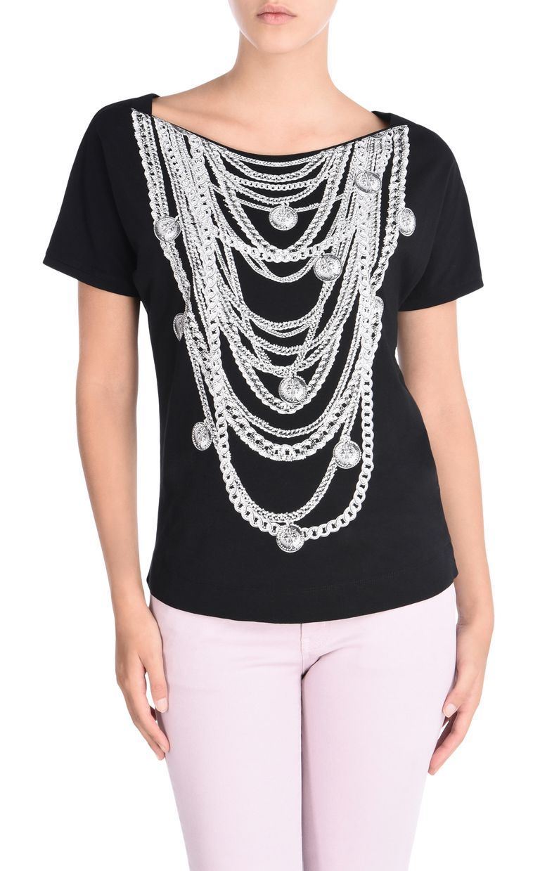 JUST CAVALLI Short-sleeved T-shirt with necklace print Short sleeve t-shirt D f