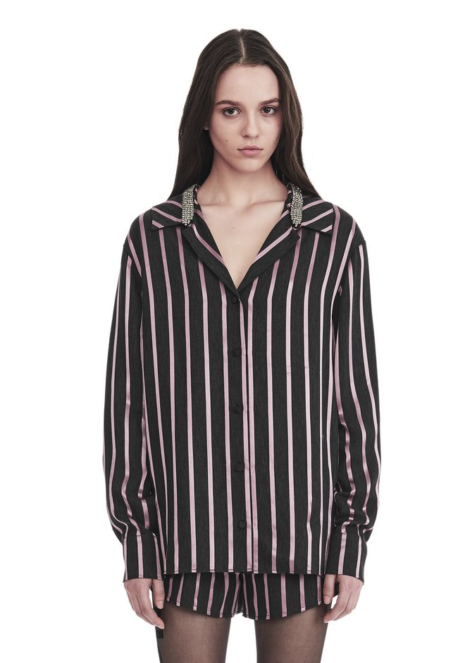 ALEXANDER WANG TOPS Women LONG SLEEVE STRIPED PAJAMA TOP