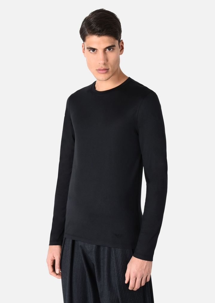 a24252a3 Long Sleeved T-Shirt in Silk and Cotton Jersey | Man | Emporio Armani