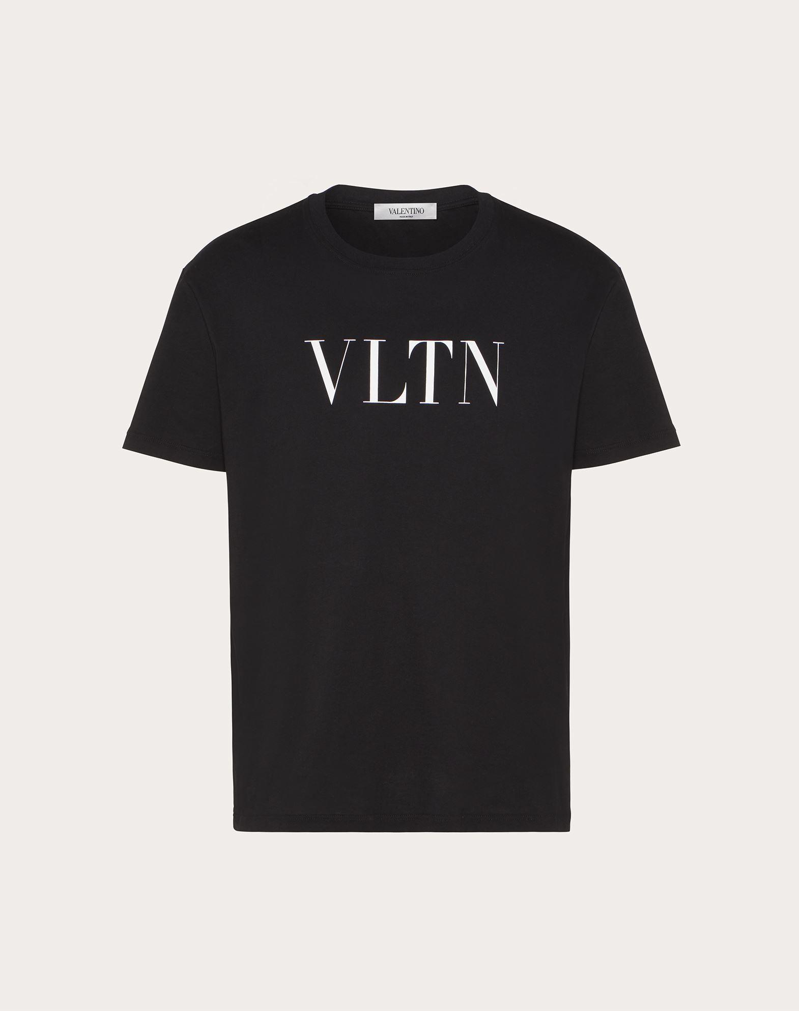 VALENTINO Black Cotton T-Shirt With Vltn Logo