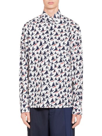 Marni Shirt in cotton Sail print Man