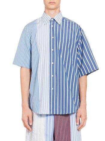 Marni Patchwork shirt in striped cotton Man