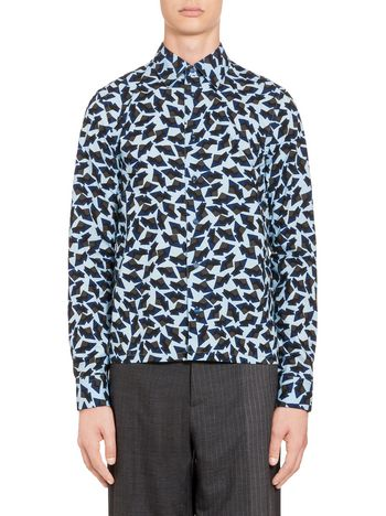 Marni Blue shirt in cotton with Metropolis print  Man