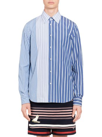 Marni Patchwork shirt in pinstriped cotton Man